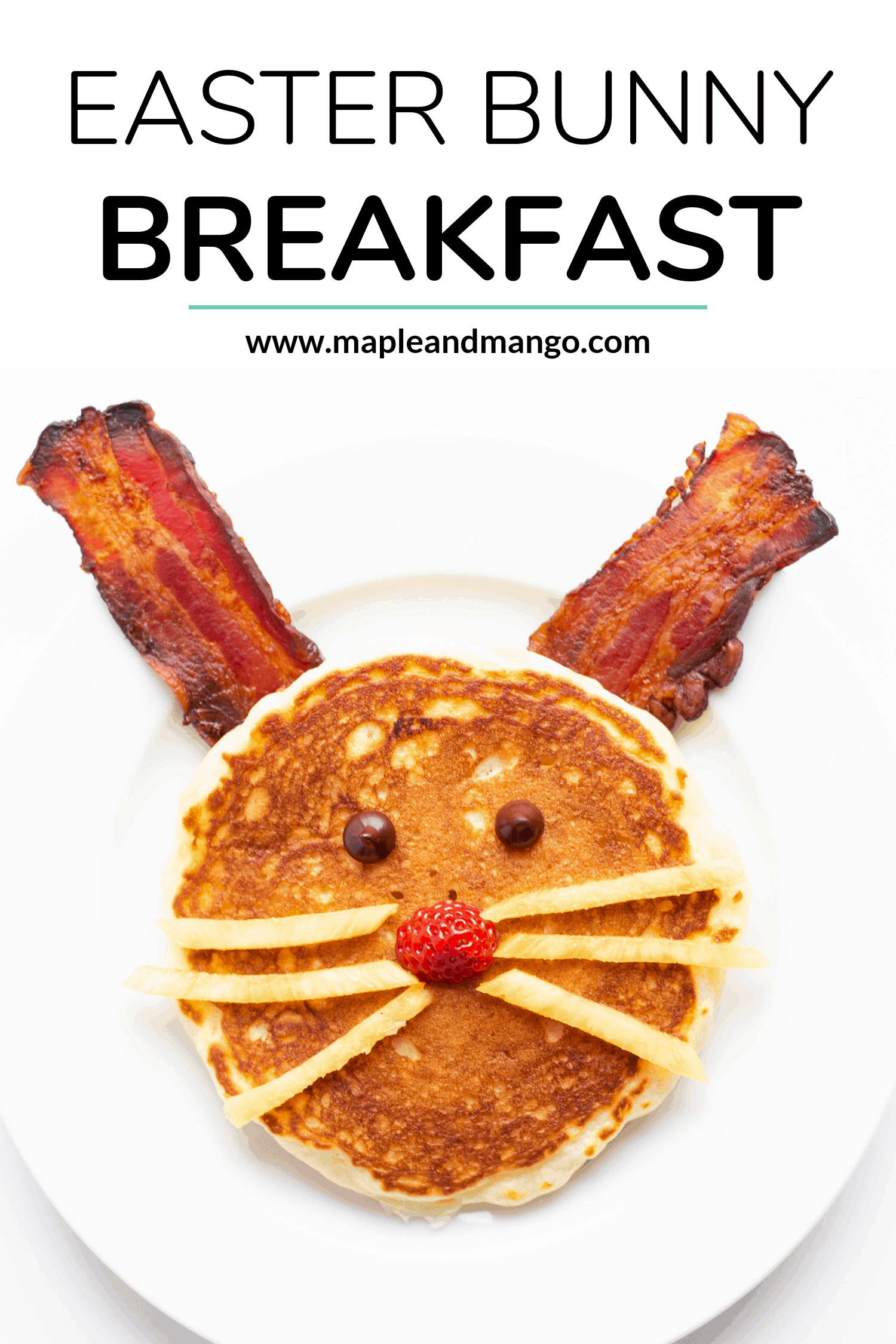 Bacon and pancake shaped to look like an Easter Bunny on a white plate
