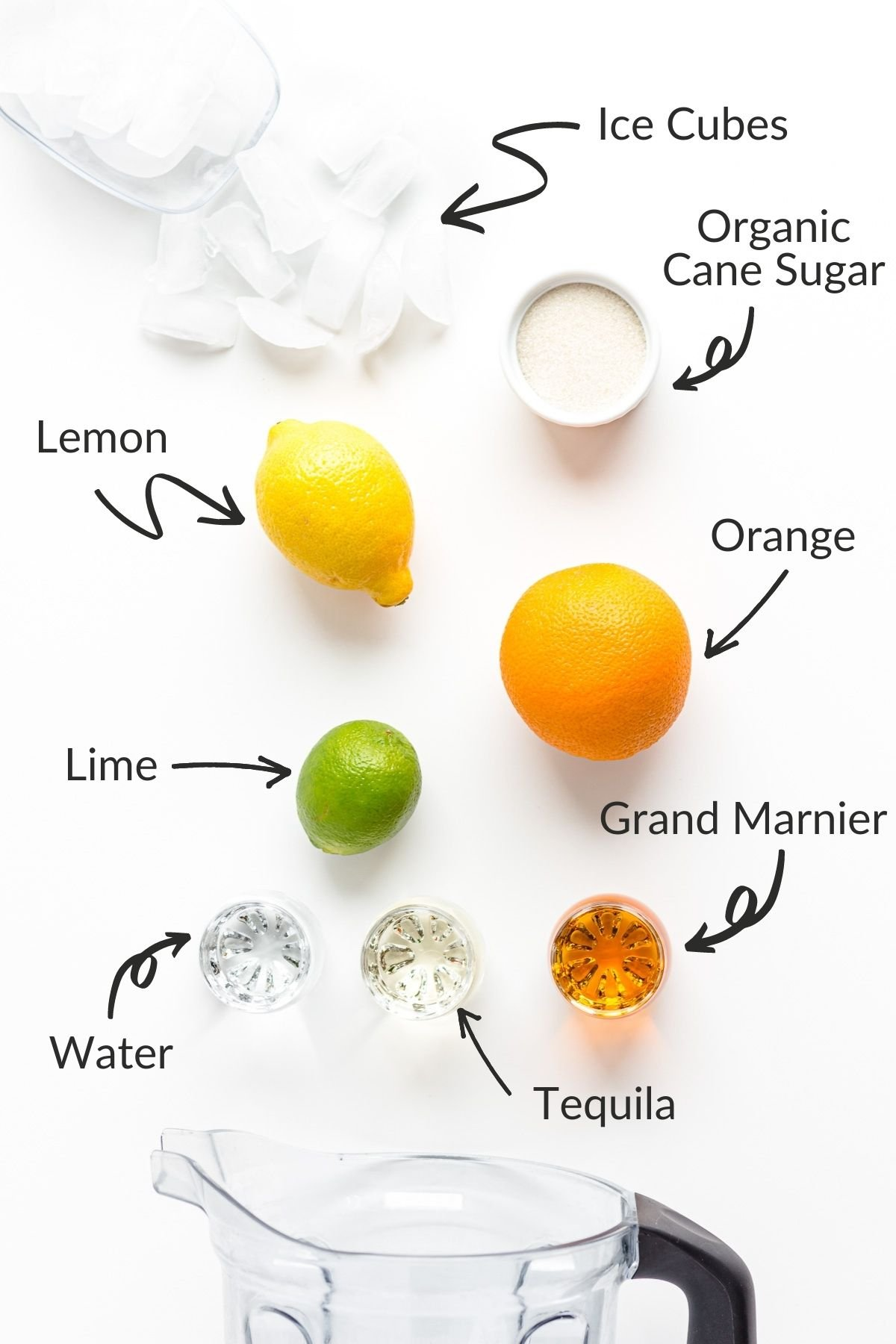 Labelled graphic showing ingredients needed for blender citrus margaritas.