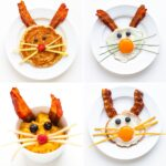 Photo collage showing a variety of Easter Bunny breakfast ideas including a bunny pancake and a few versions of bacon and egg bunnies.