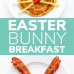 """Collage graphic showing a bunny pancake and bunny fried egg with text overlay """"Easter Bunny Breakfast""""."""