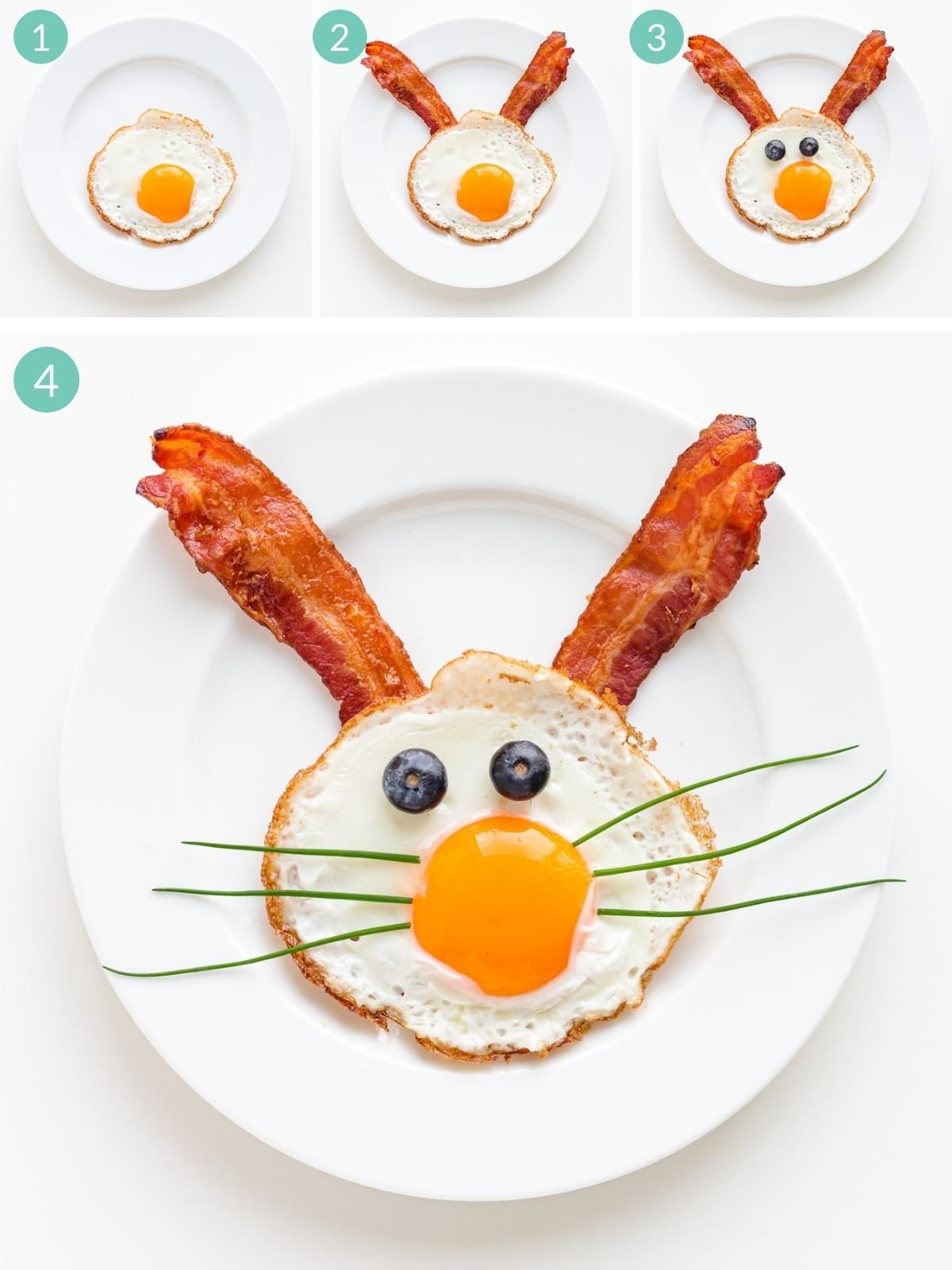Step by step photo collage showing how to assemble an Easter Bunny fried egg with bacon ears.