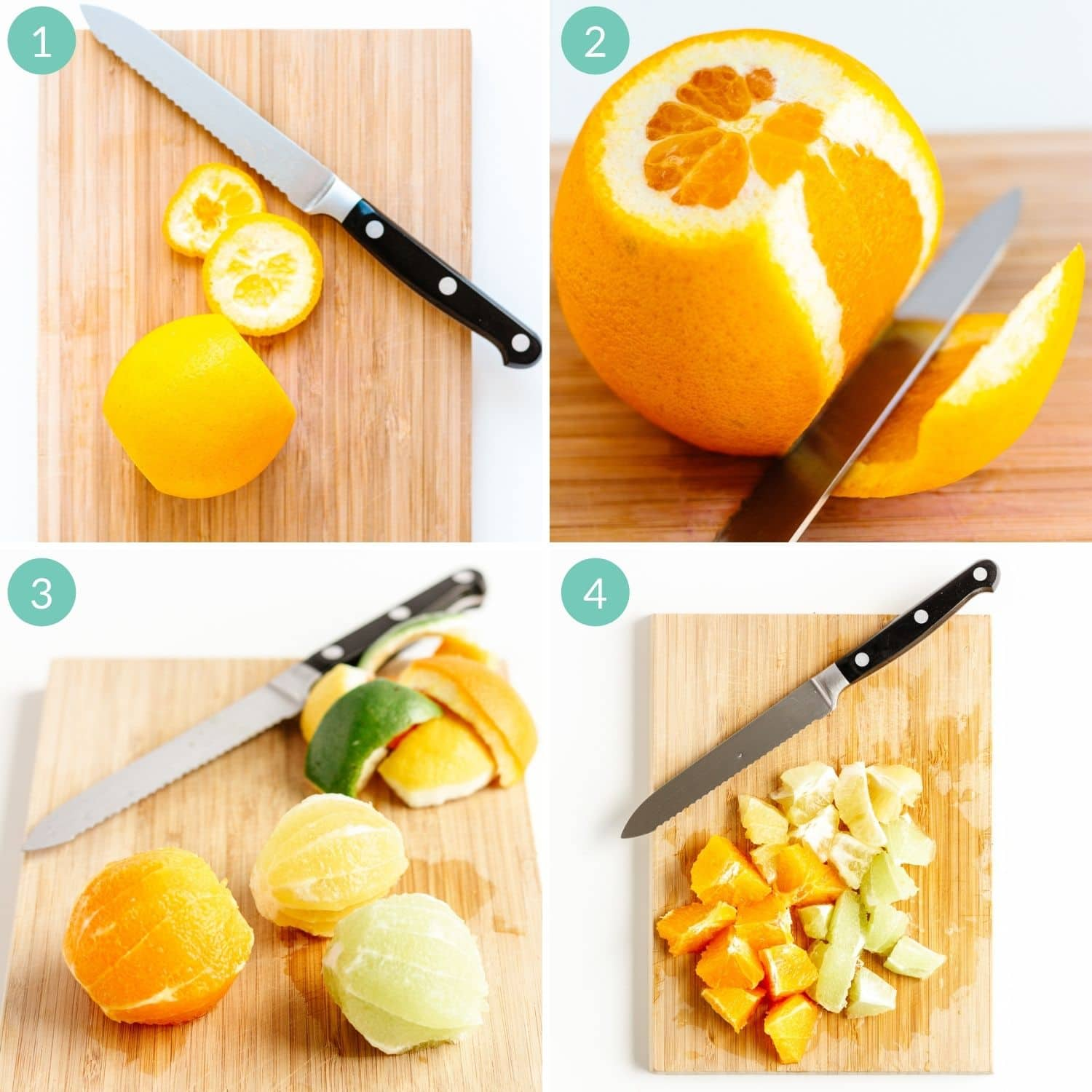 Step by step photo collage showing how to de-pith citrus.