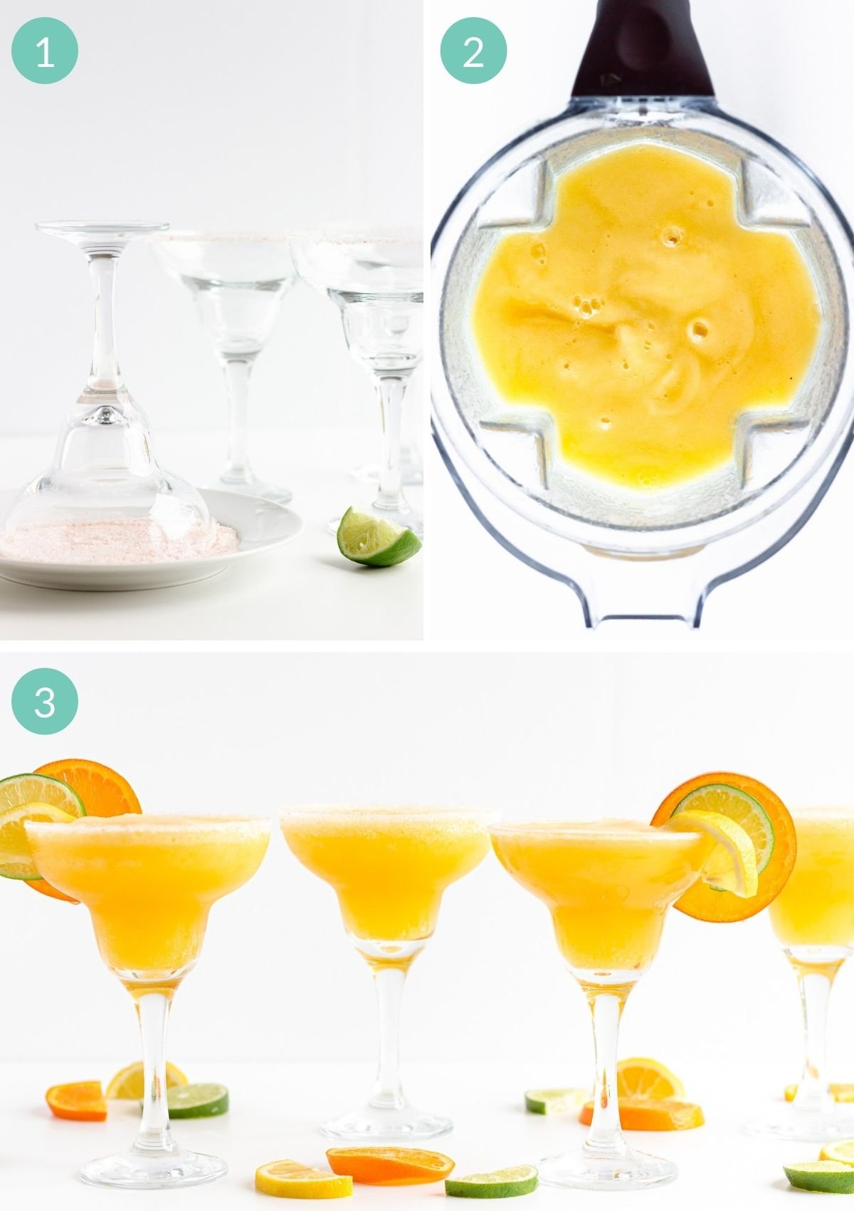 Step by step photo collage showing how to make orange lemon lime blender margaritas.