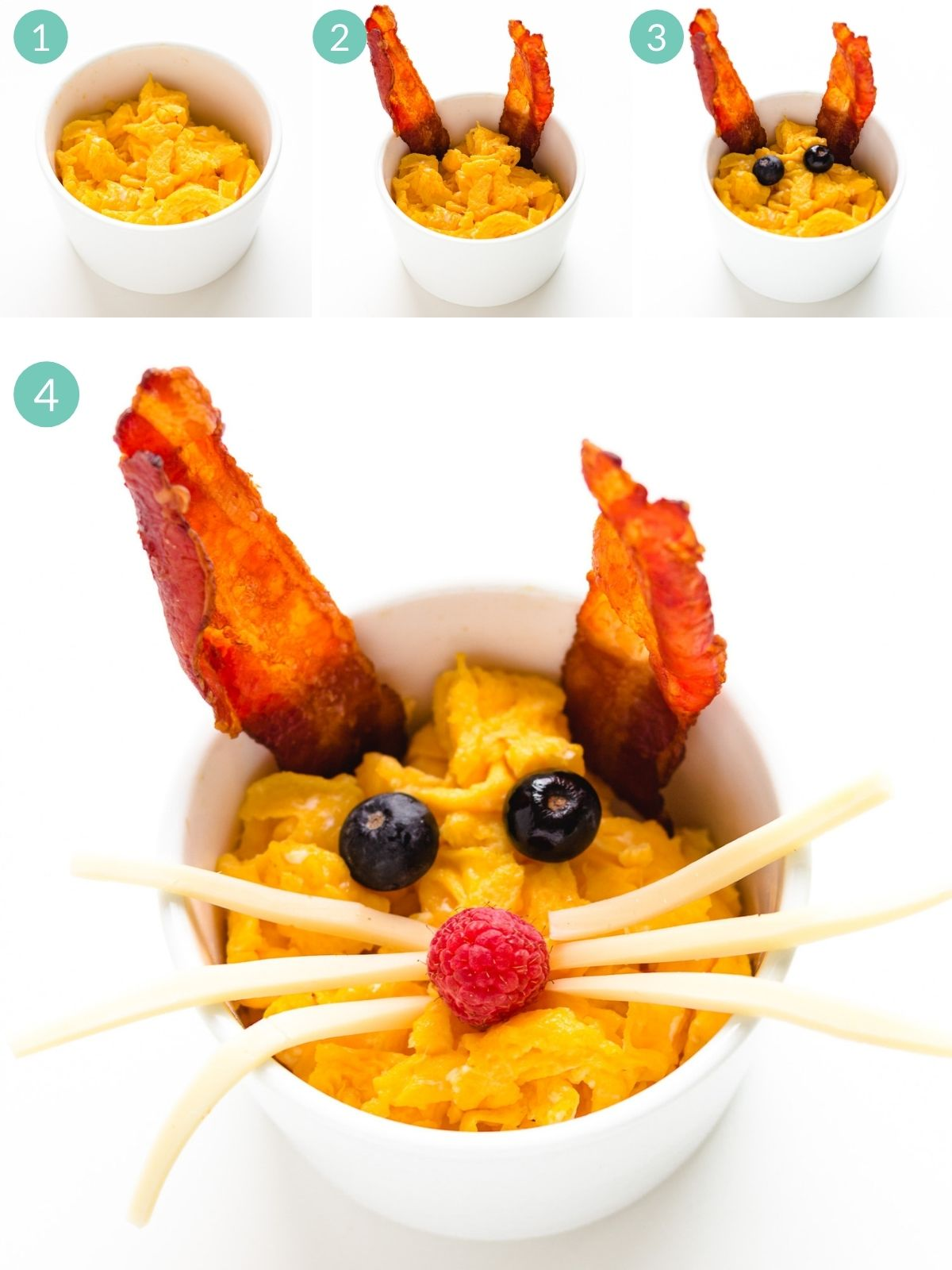 Step by step photo collage showing how to assemble a bacon and scrambled egg bunny.
