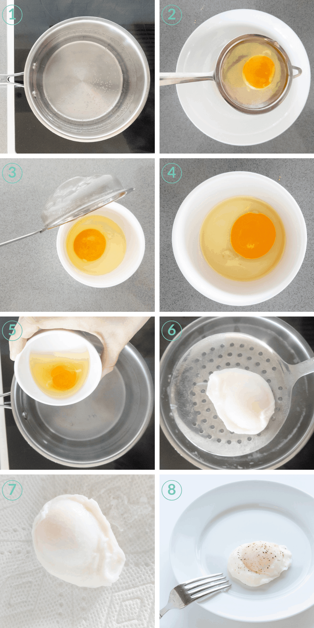 collage process picture showing all the steps to make poached eggs