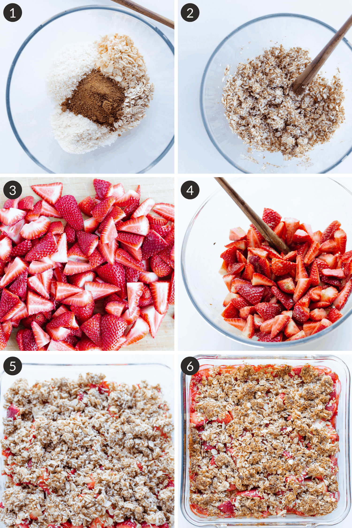 Process collage of steps to make strawberry coconut crisp recipe