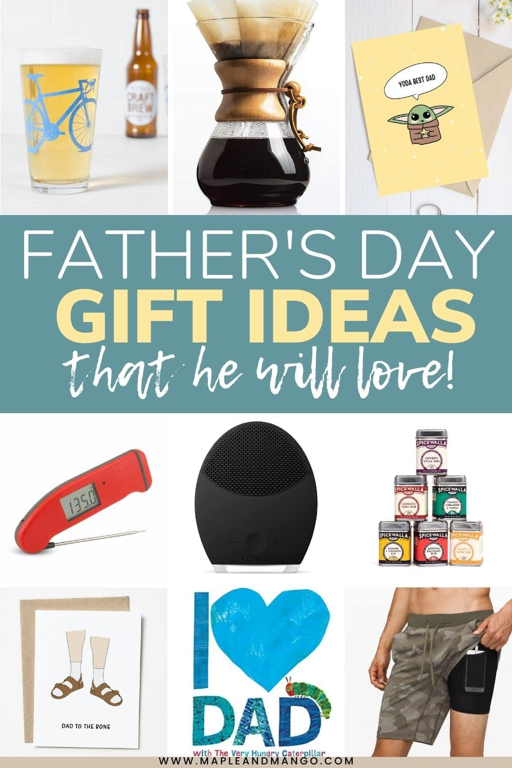 """Photo collage with a variety of gifts and text overlay """"Father's Day Gift Ideas That He Will Love!""""."""