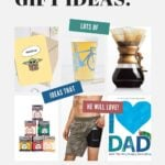"""Pinterest collage graphic with text overlay """"Father's Day Gift Ideas""""."""