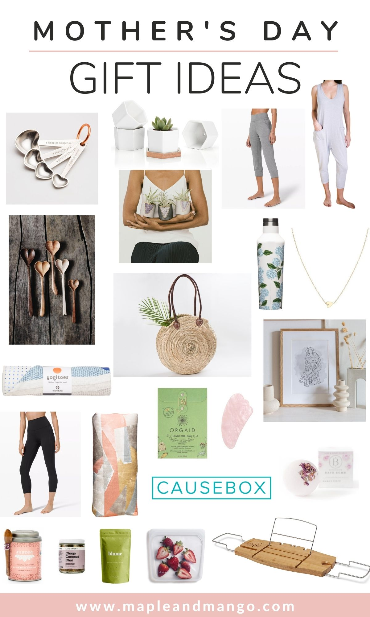 Collage image of a variety of Mother's Day gift ideas.