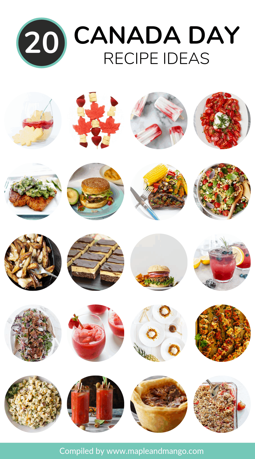 Pinterest image featuring a photo collage of 20 Canada Day recipe ideas