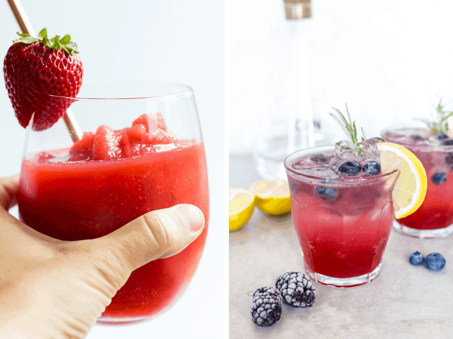 Photo collage featuring strawberry frose and mixed berry rosemary gin refresher