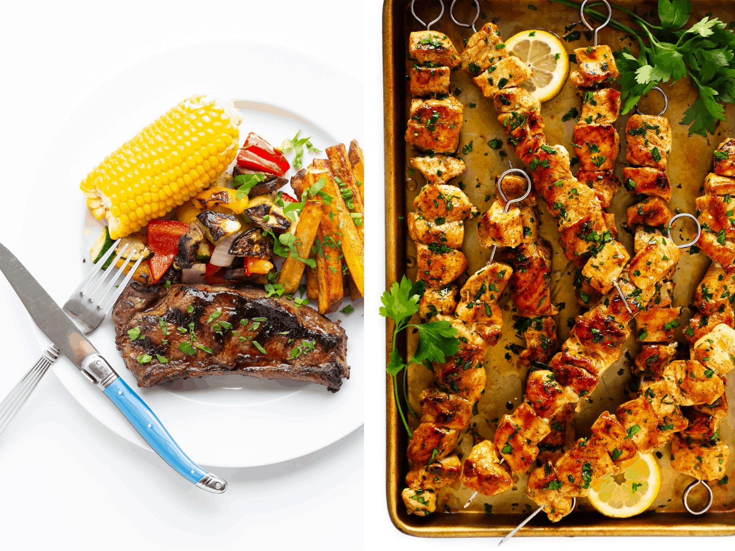 Photo collage of marinated grilled steaks and grilled chicken kabobs