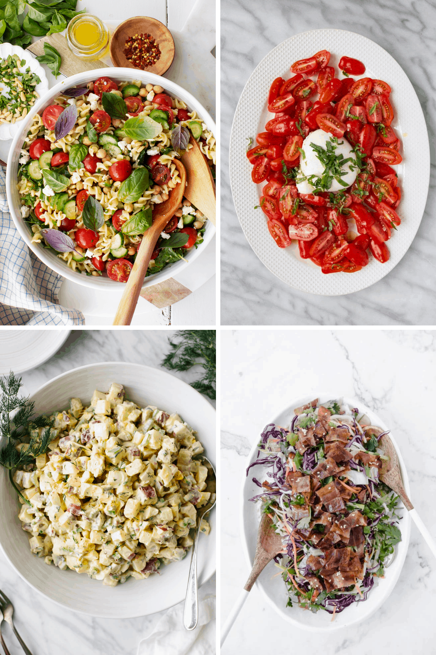 Photo collage of pasta salad, tomato salad, potato salad and keto bacon coleslaw