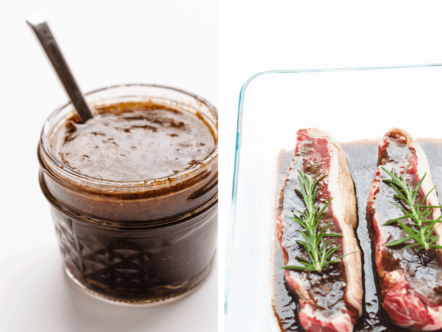 Jar of steak marinade next to a glass dish containing two steaks soaking in marinade with sprigs of rosemary on top.
