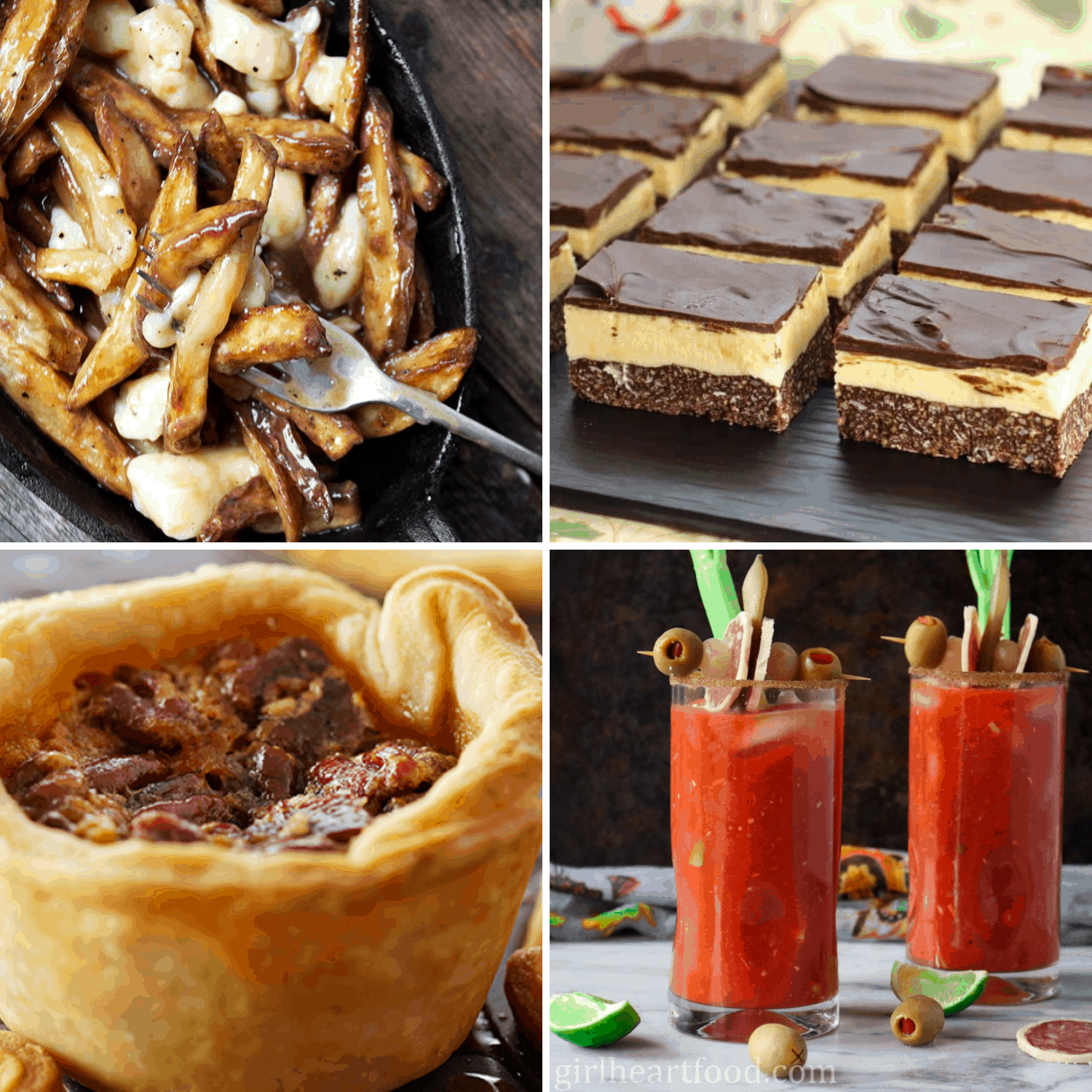 Photo collage of poutine, nanaimo bars, butter tarts and caesar cocktail