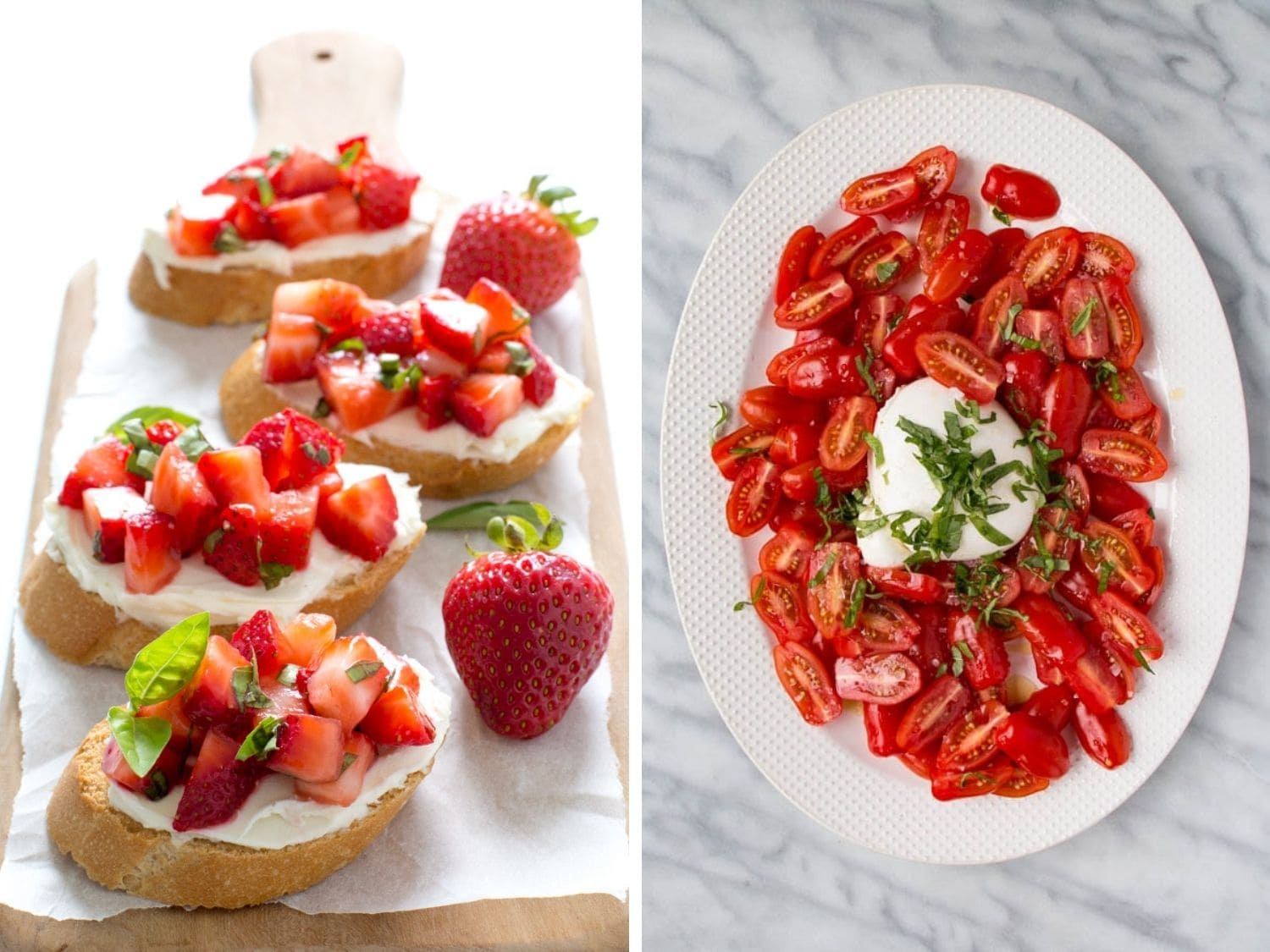 Collage showing strawberry basil bruschetta on a wooden serving board and a white serving dish of tomato salad.