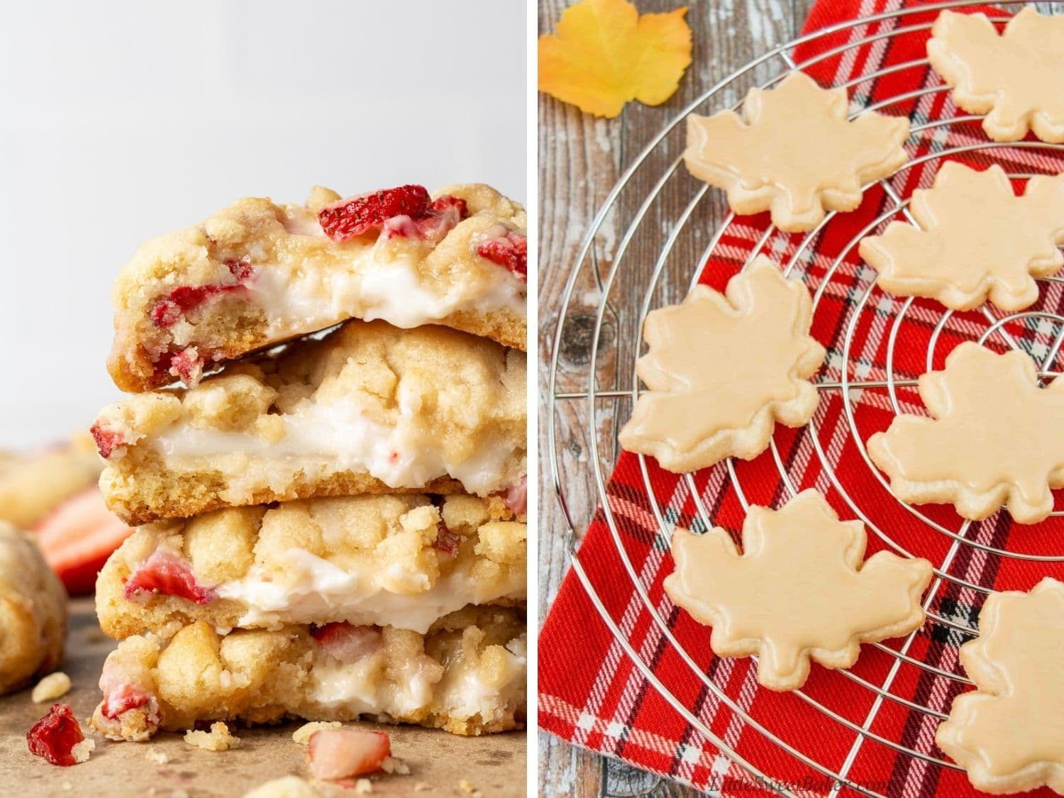 Collage of two cookie recipes to serve for Canada Day.