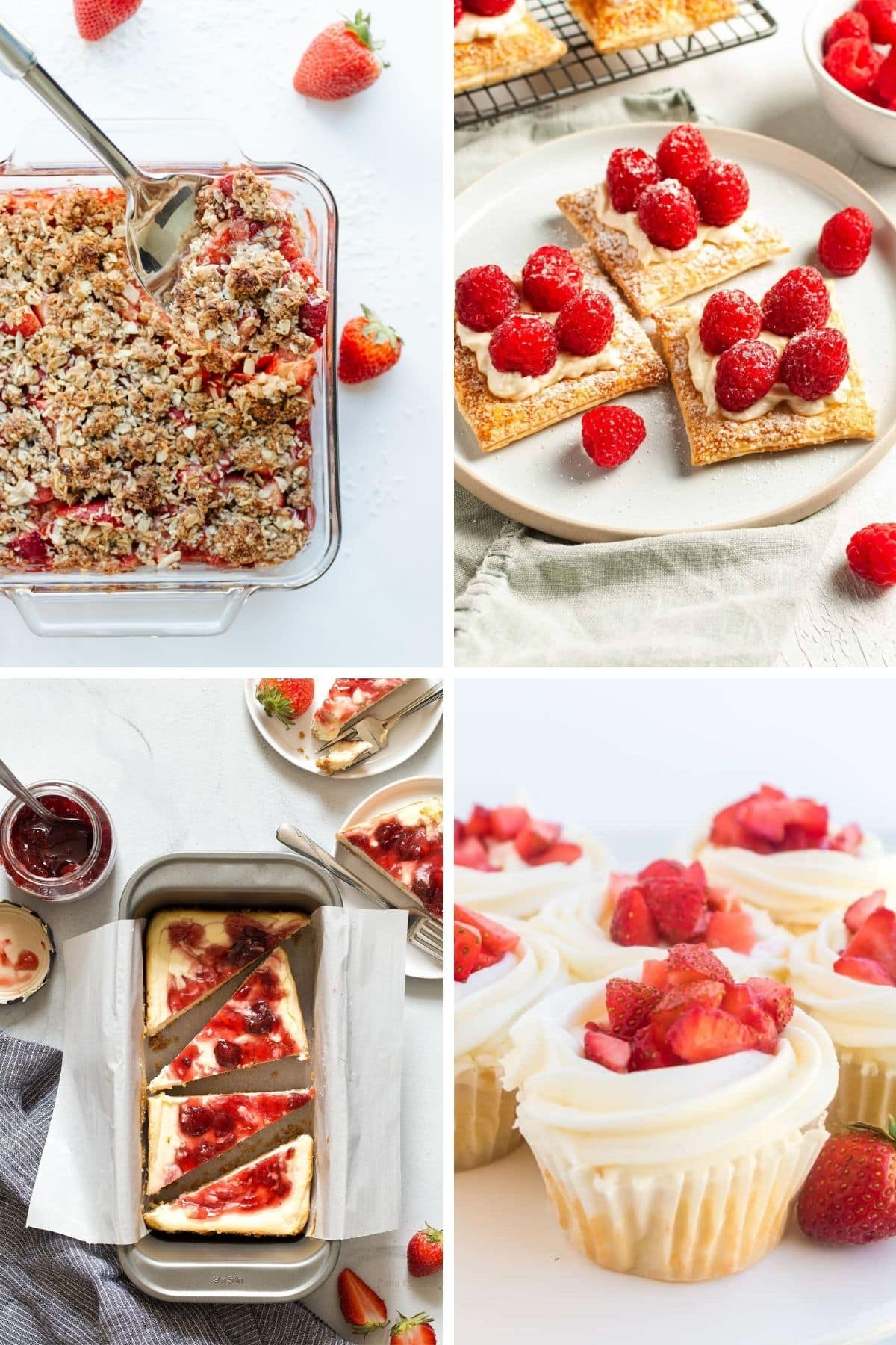 Collage of red and white themed dessert ideas for Canada Day.