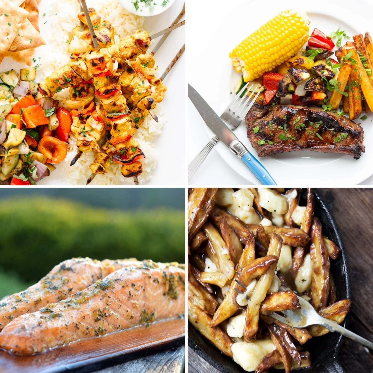 Collage of four main dishes to serve on Canada Day.