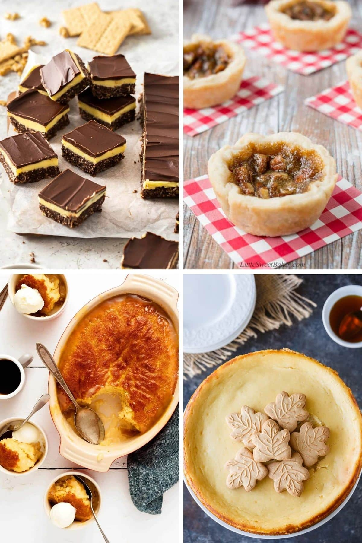 Collage of classic Canadian desserts.