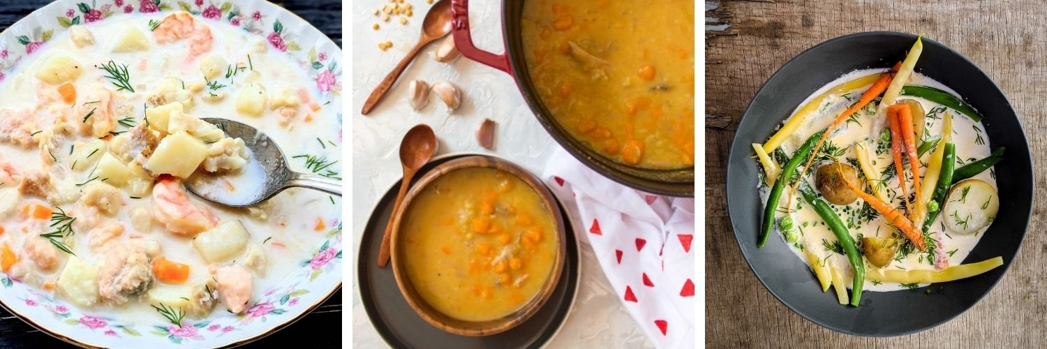 Collage showing three different traditional Canadian soups.