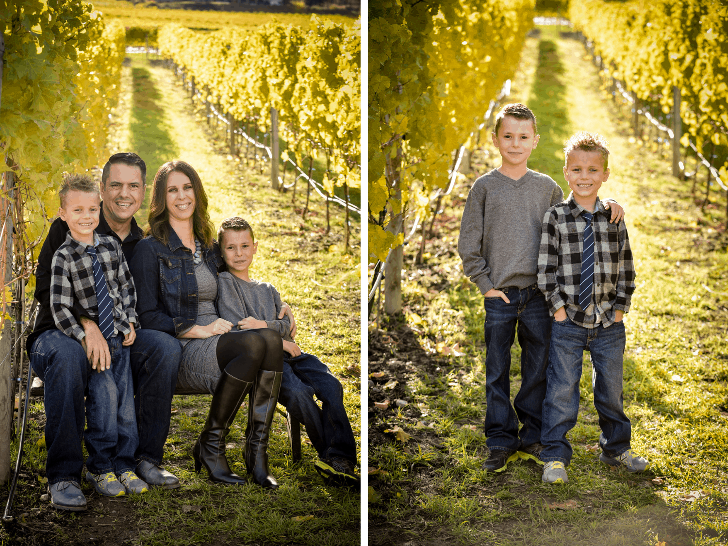 Family photos in a fall vineyard