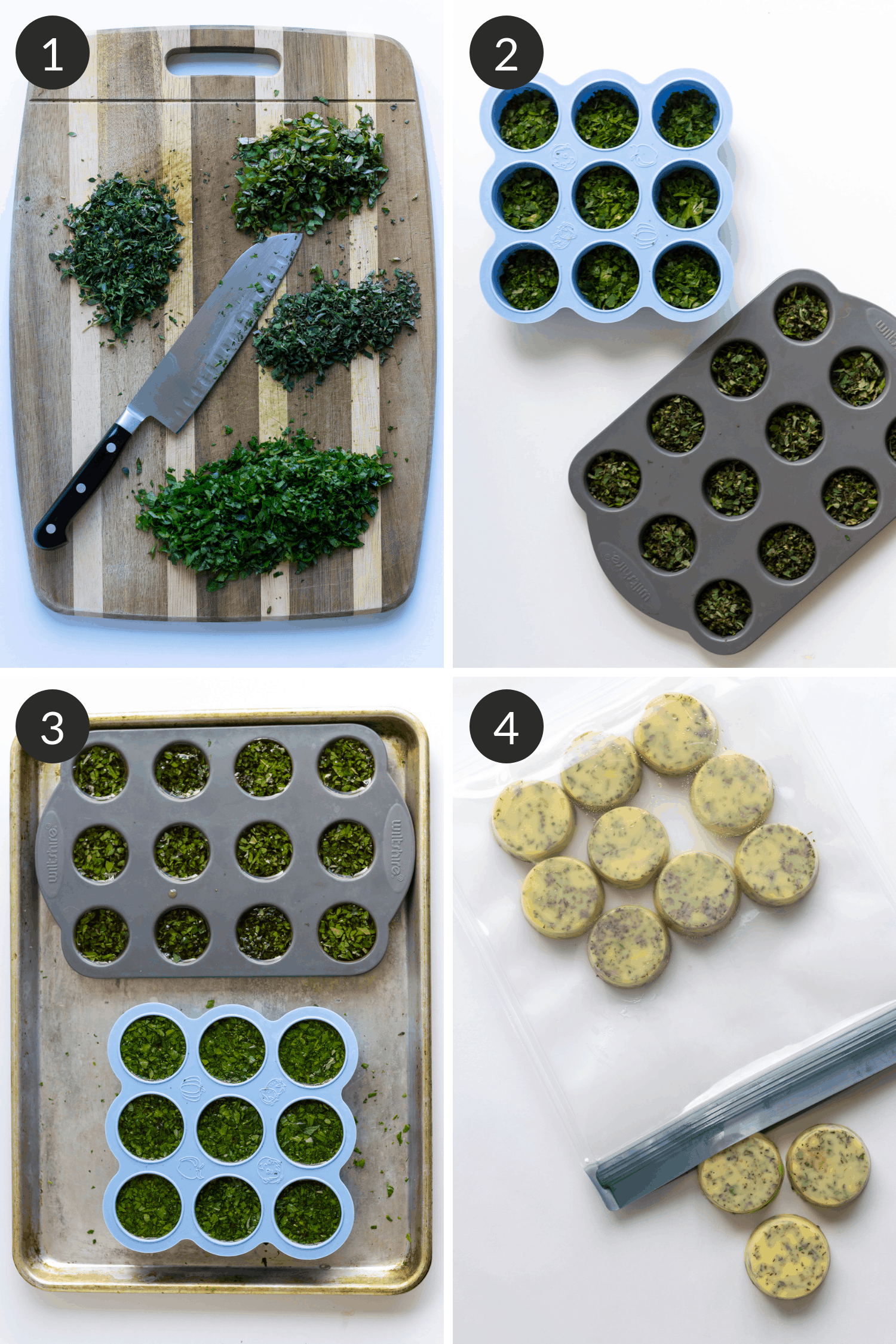 Process collage for preserving fresh herbs by freezing in olive oil or broth.