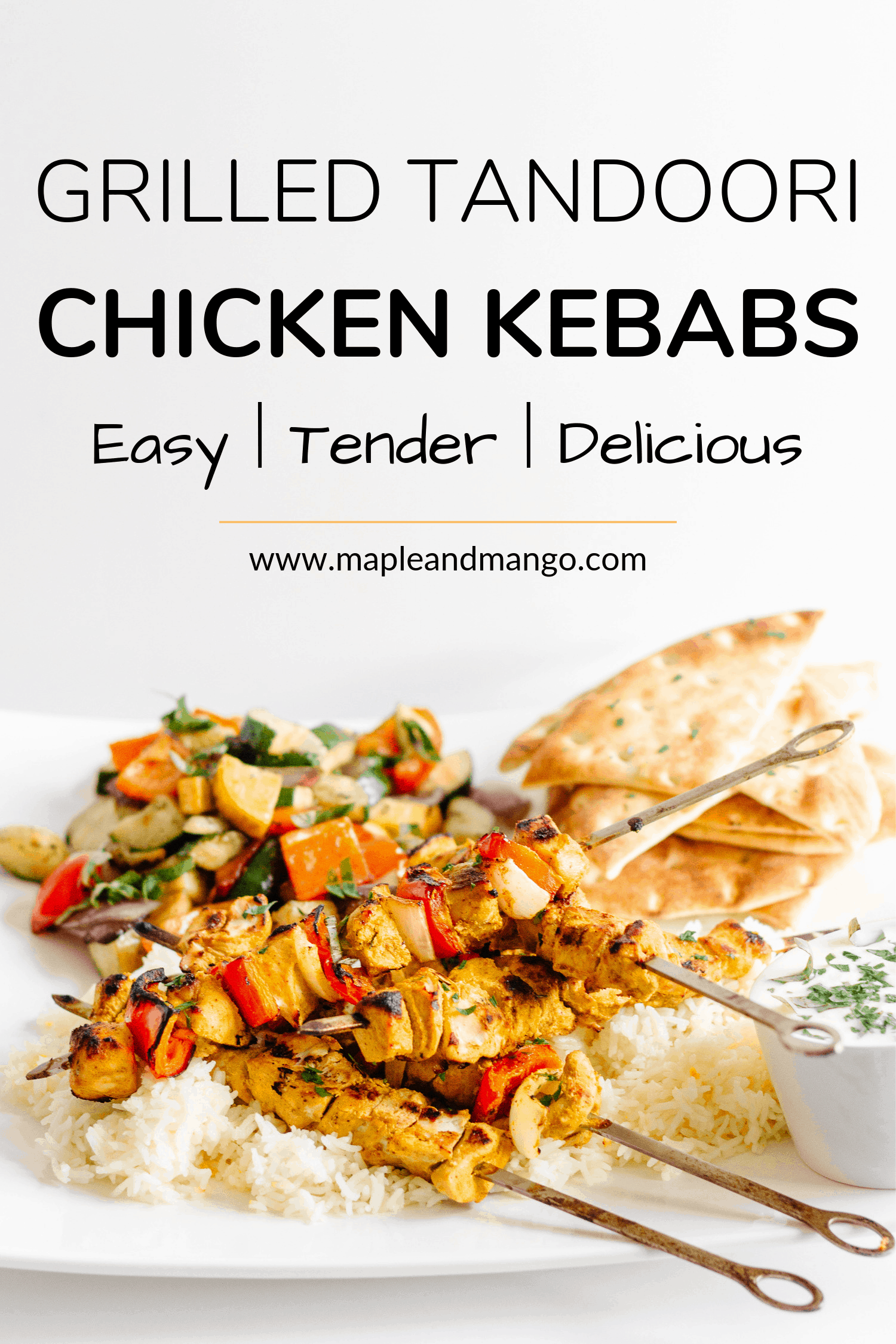 Pinterest image for Grilled Tandoori Chicken Kebabs