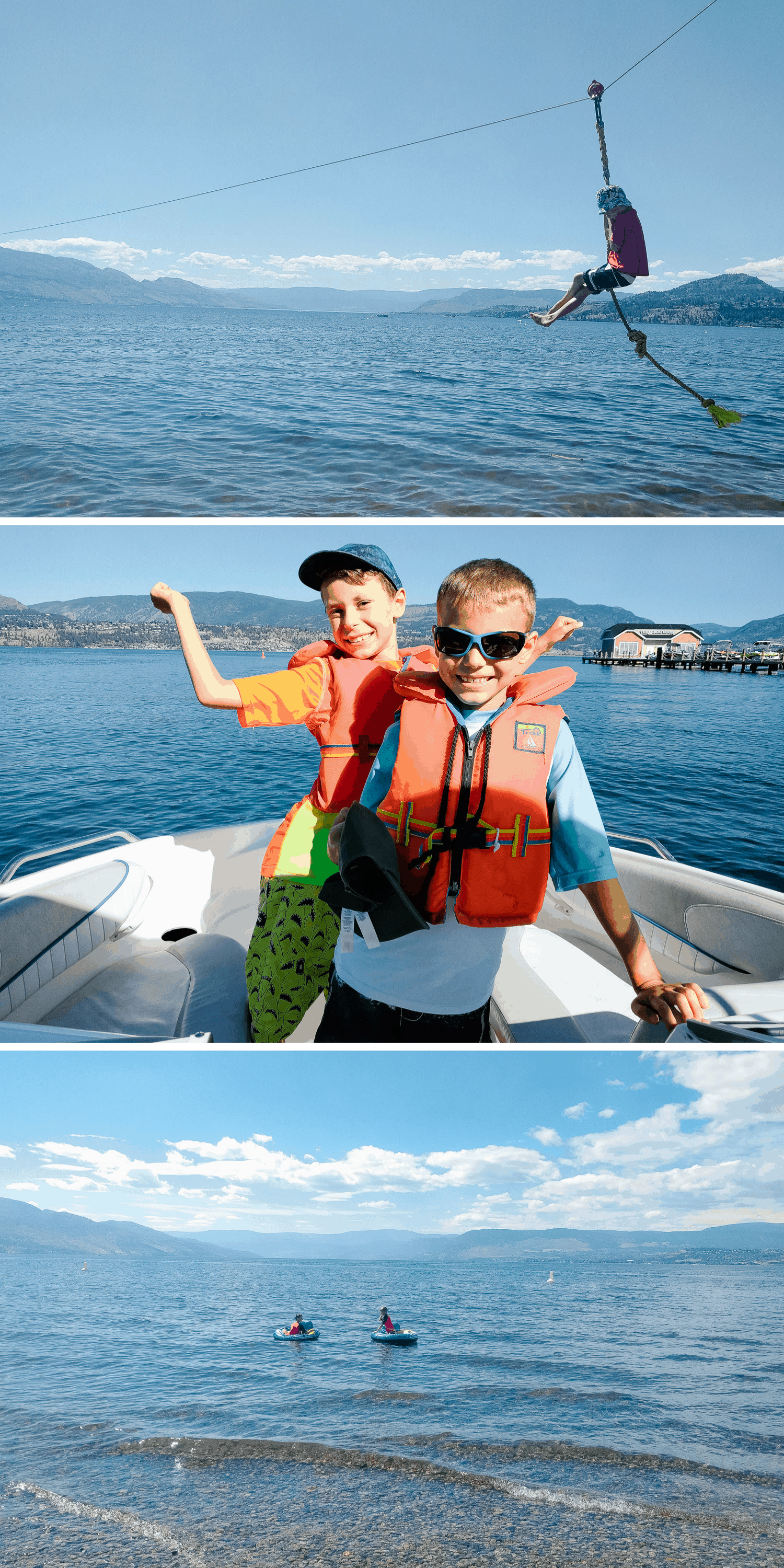 Three photos of fun on Okanagan Lake in Kelowna.