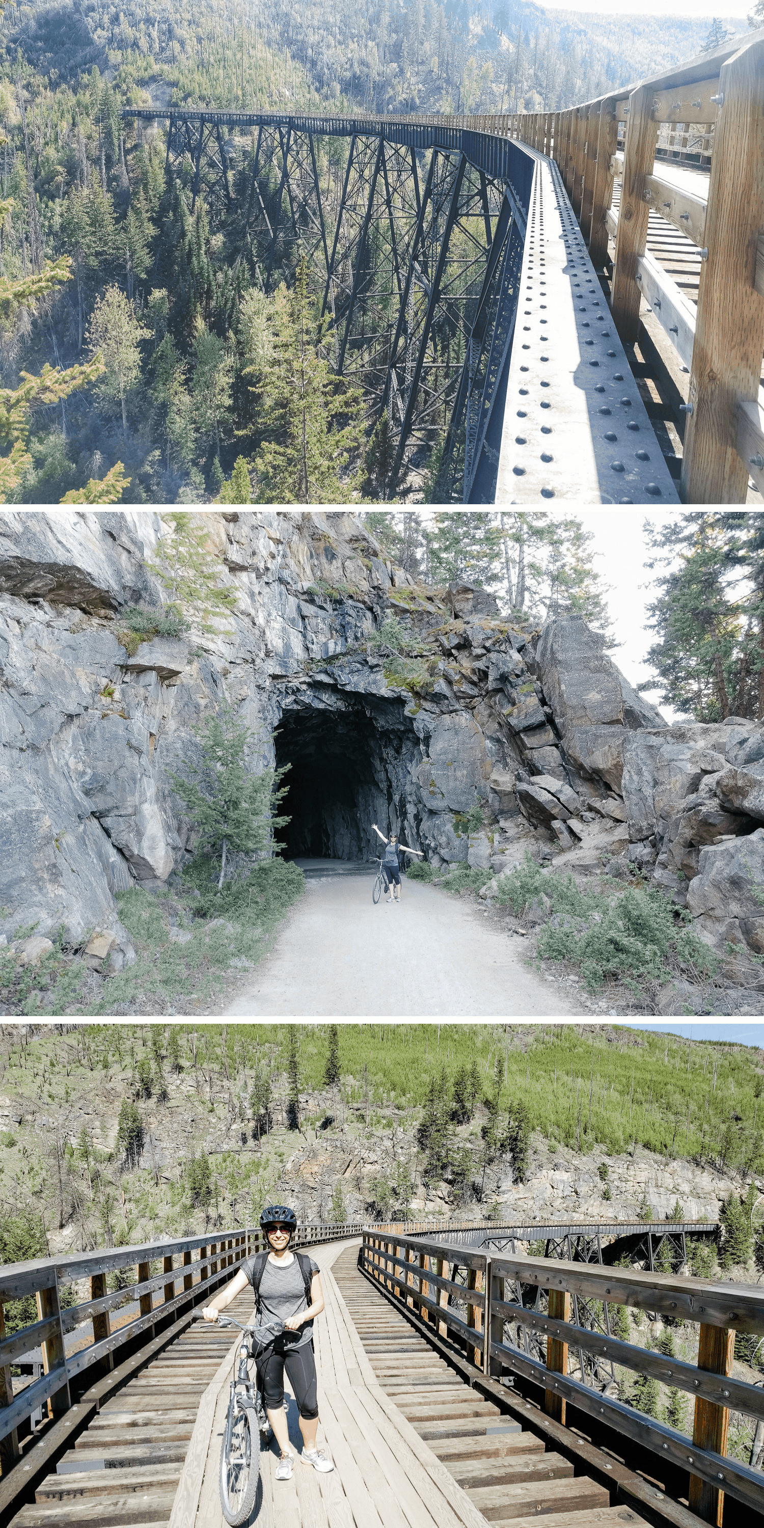 Collage of photos taken at Myra Canyon Trestles in Kelowna