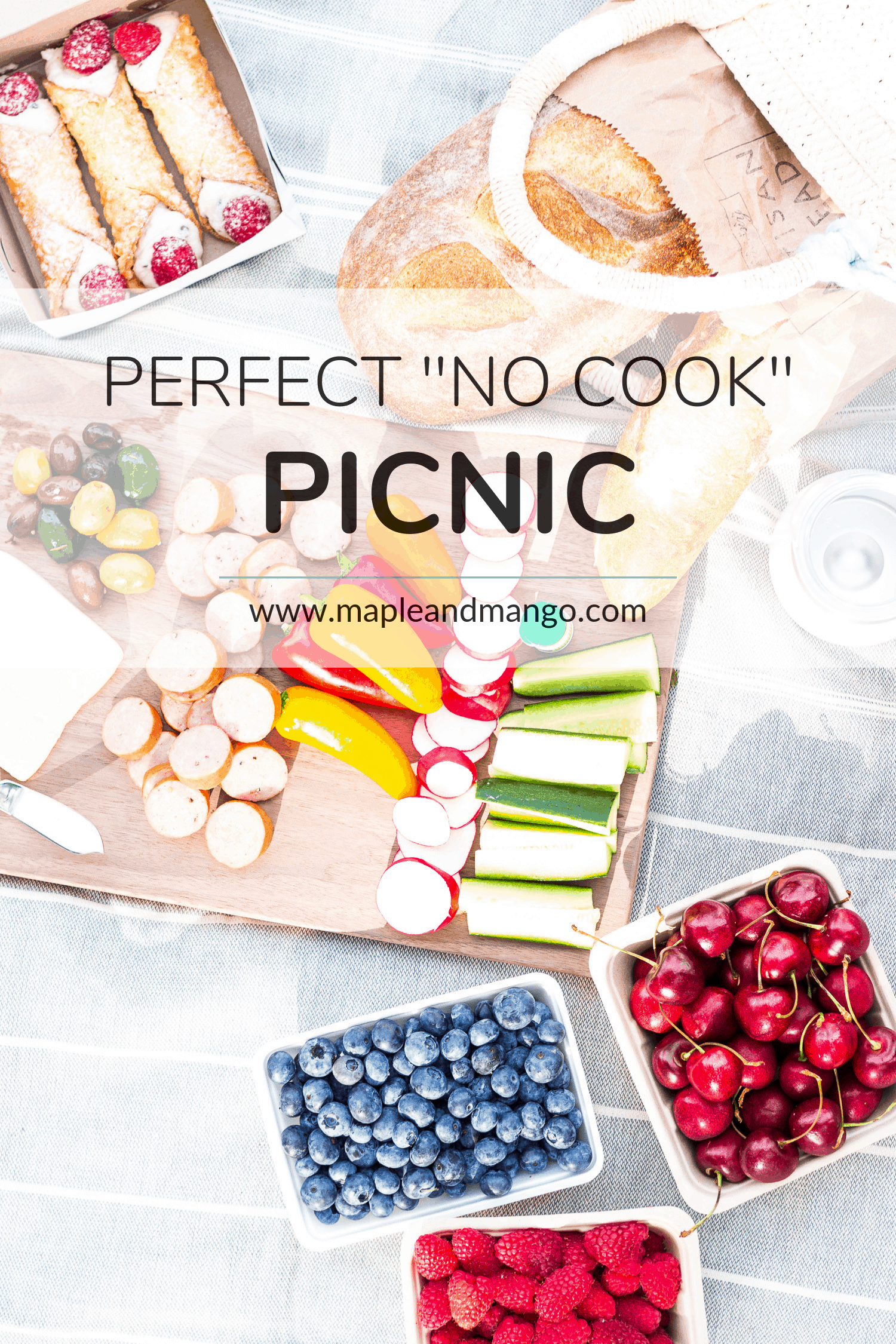 Pinterest Image with text overlay for the Perfect No Cook Picnic