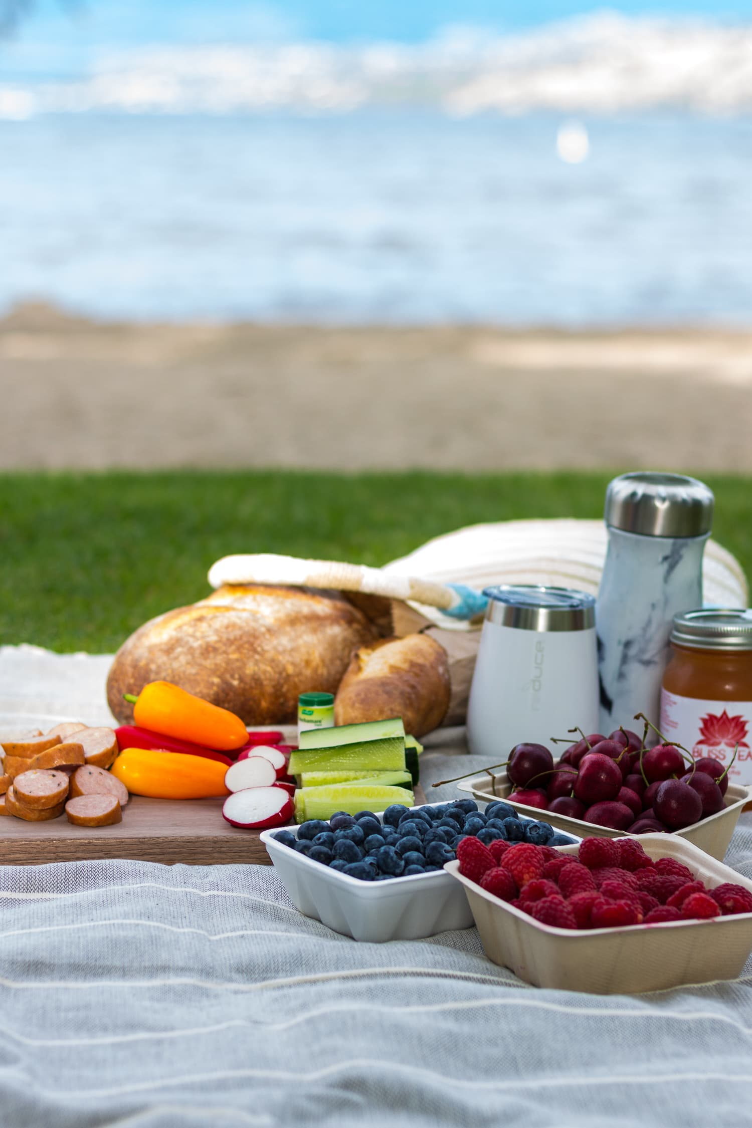 Picnic set up on a blanket with beach in the background