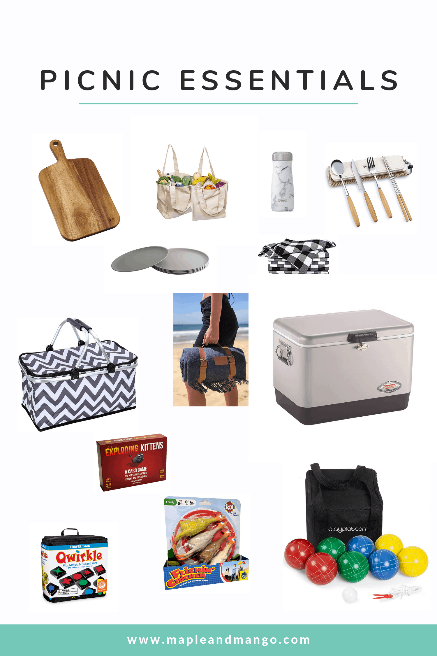 Collage of a variety of picnic essentials