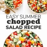 Pinterest collage graphic for an easy summer chopped salad recipe.