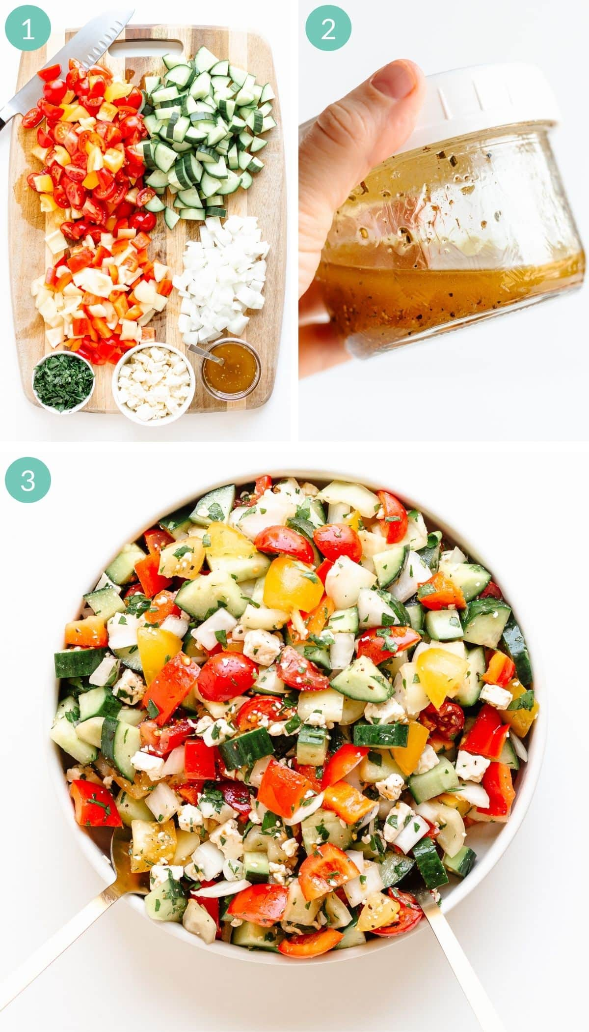 Photo collage showing step by step how to make a summer chopped veggie salad.