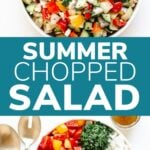 Pinterest graphic for summer chopped salad recipe.