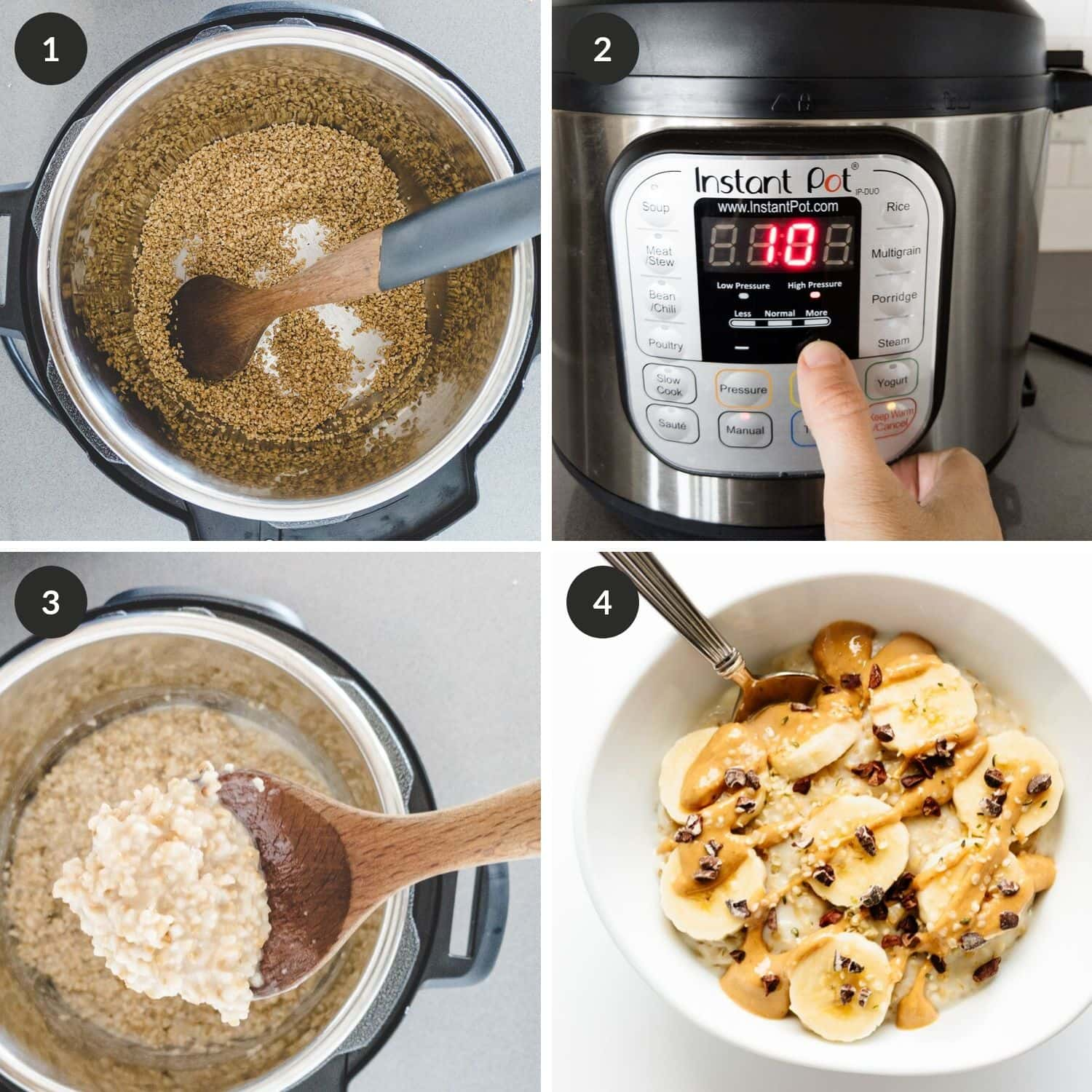 Process shots of cooking steel cuts oats with the Instant Pot method.