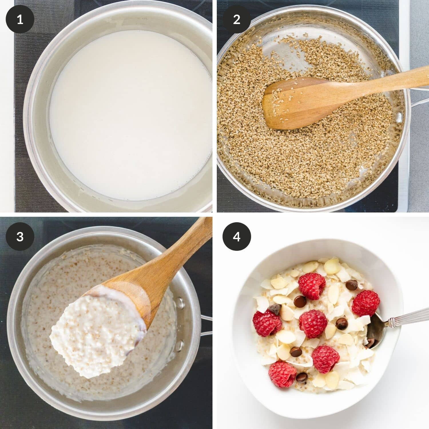 Process pictures of cooking steel cut oats with the stovetop method.
