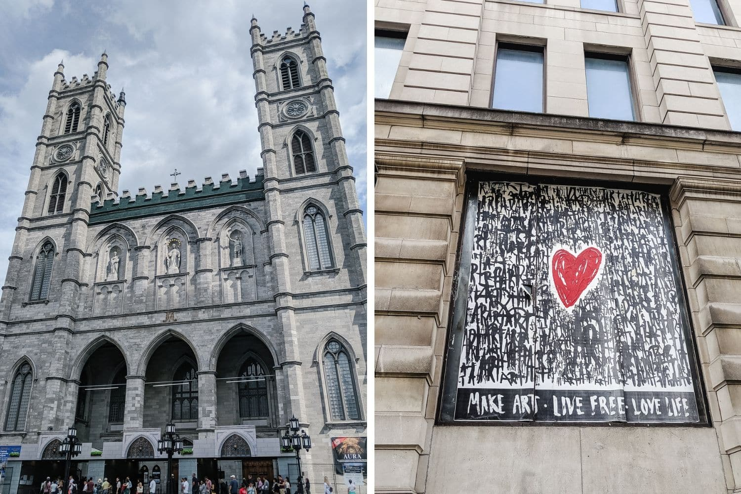 Notre Dame Basilica and street art in Montreal