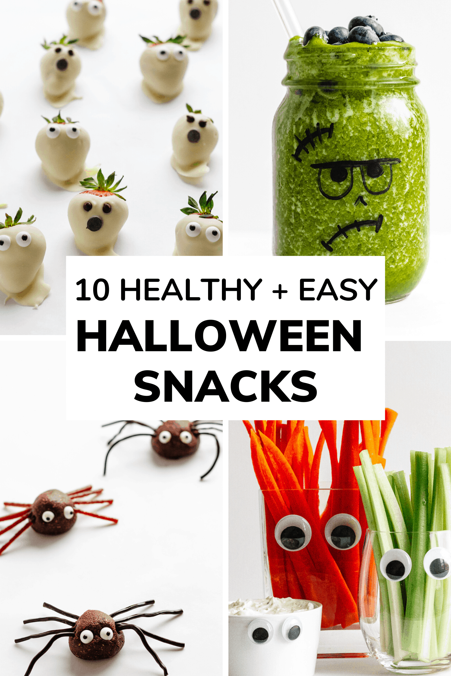 Collage showing four different images of healthy and easy halloween snack ideas.