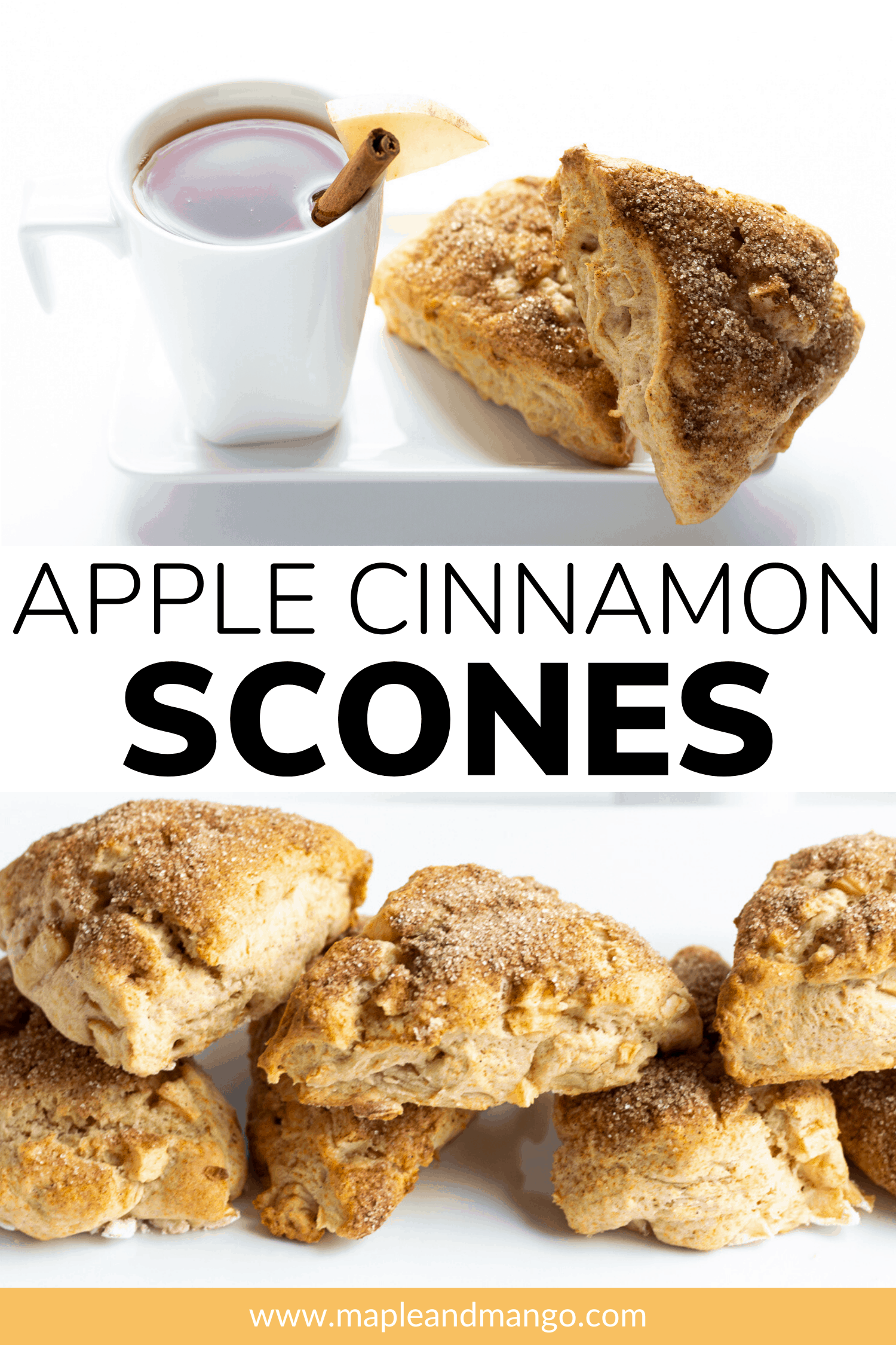 Pinterest image with text overlay for Apple Cinnamon Scones