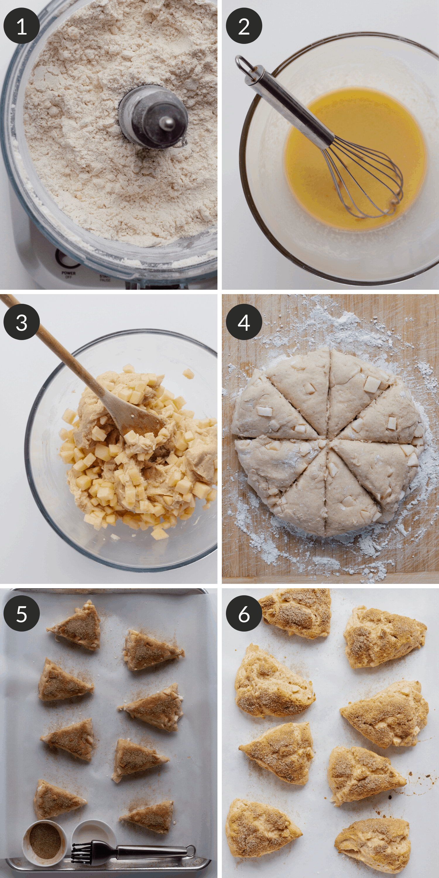 A collage of 6 process pictures showing how to make apple cinnamon scones.