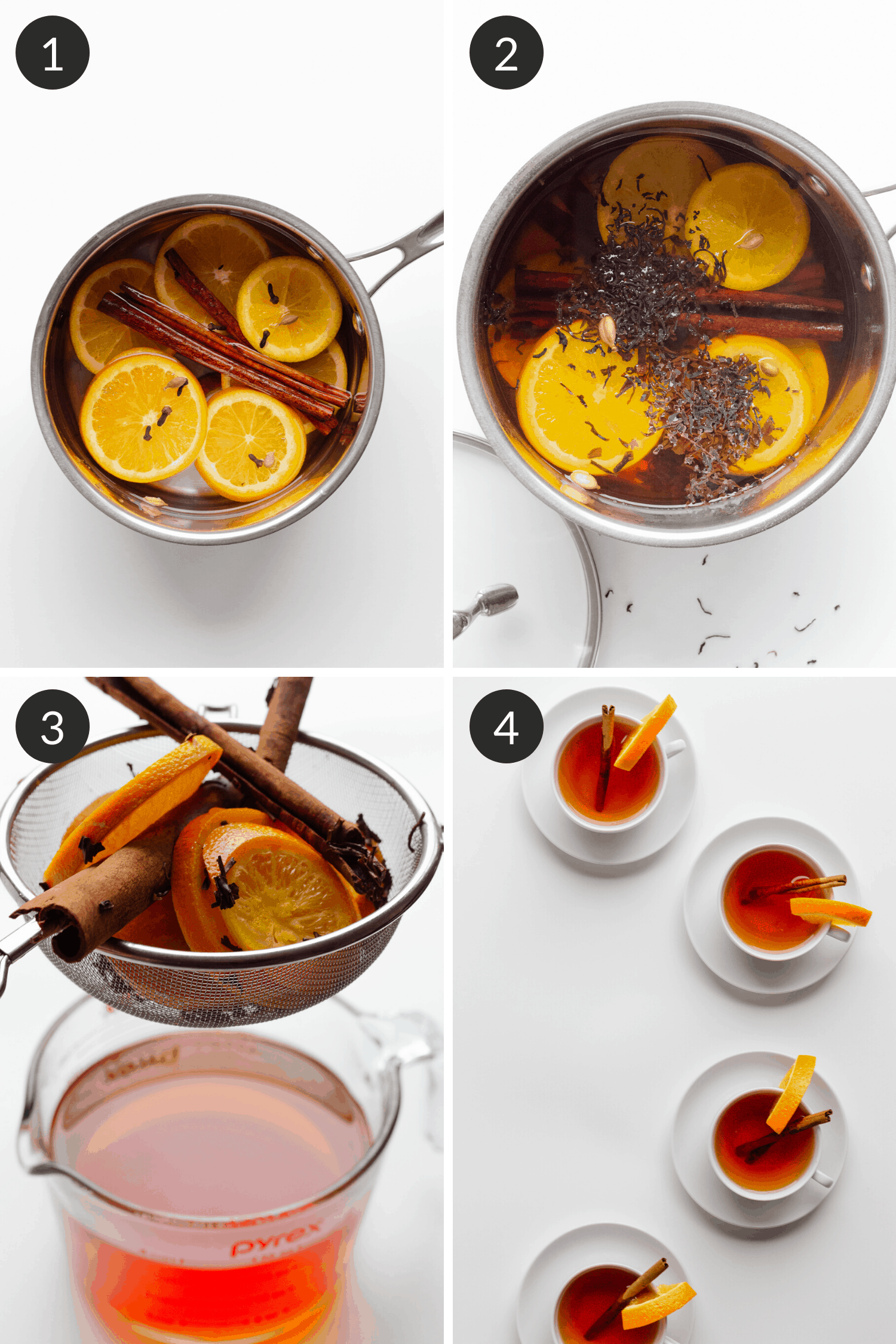 Collage showing step by step process of how to make the orange spice mulled tea recipe