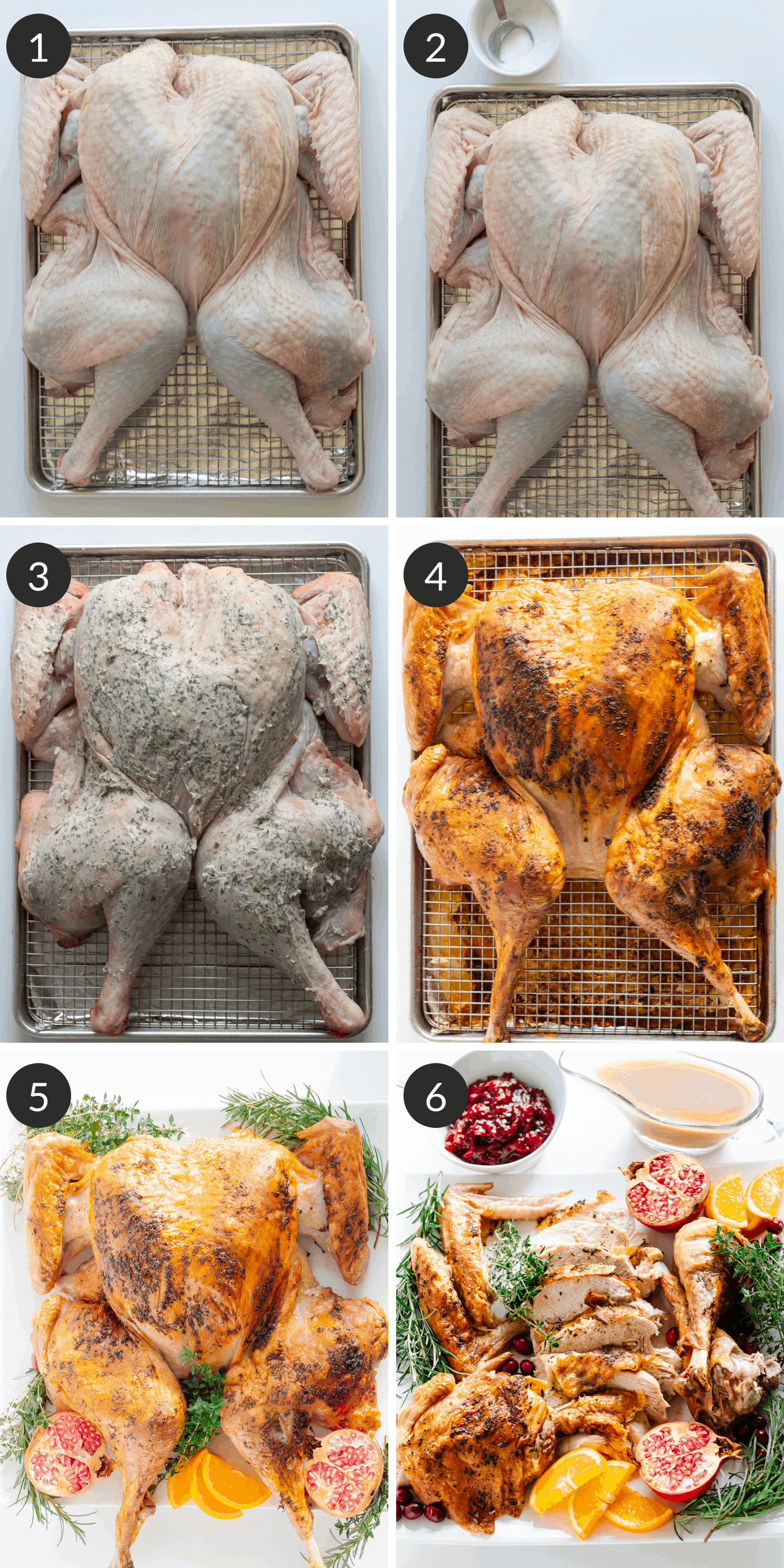 Process collage with photos of steps  on how to make a dry brine spatchcock turkey with herb butter