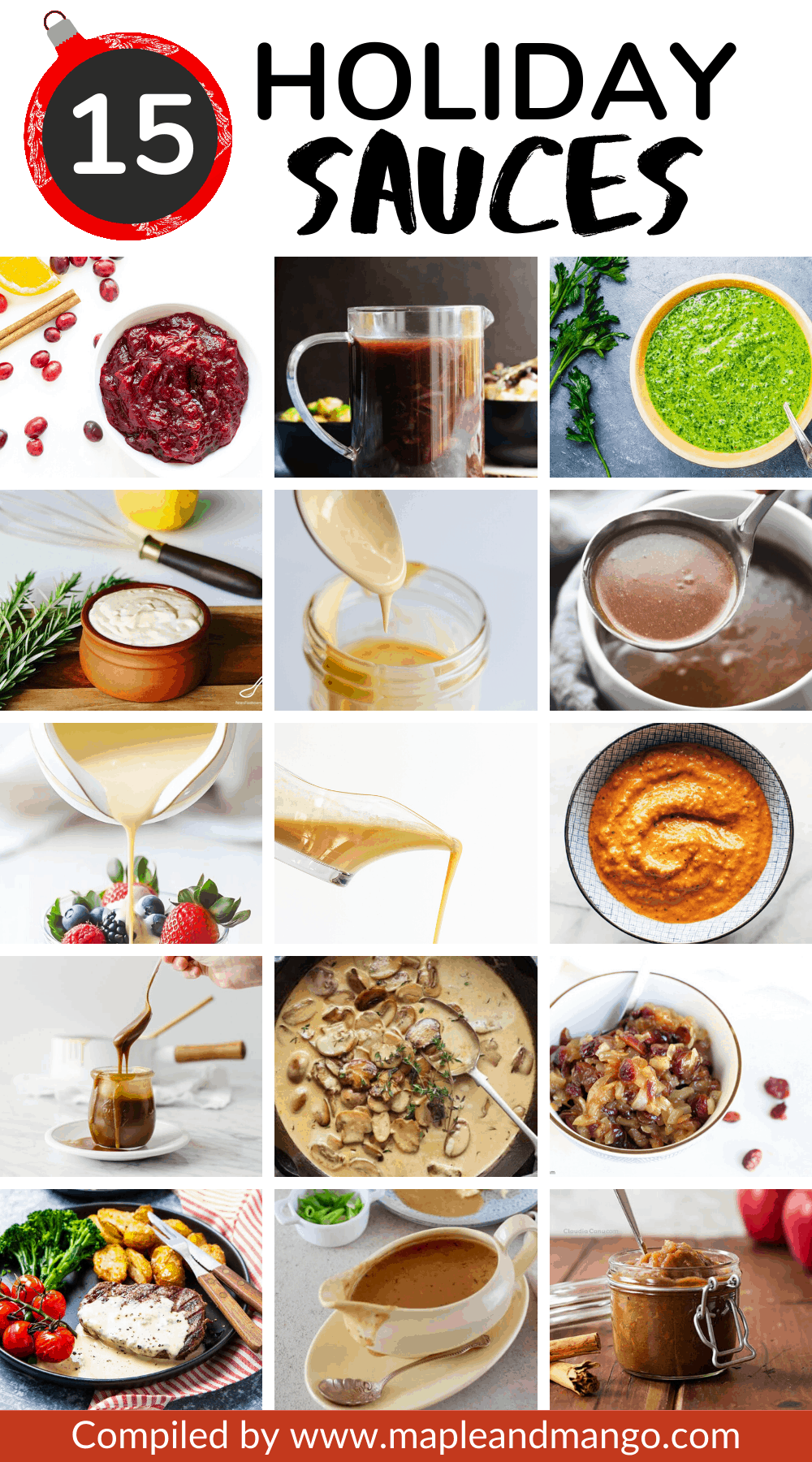 Pinterest Collage Image for 15 Holiday Sauces
