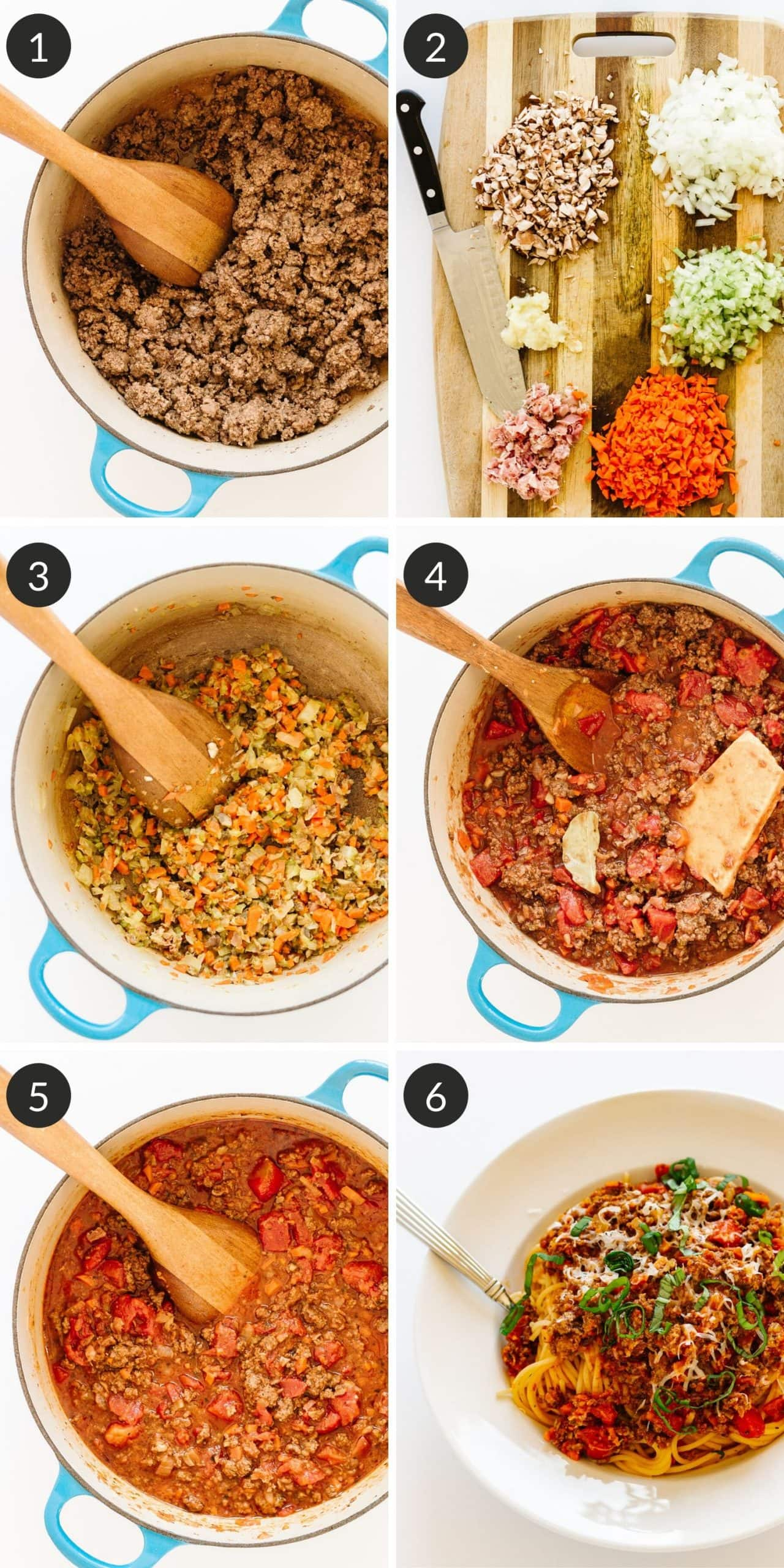 Step by step photo collage on how to make bolognese sauce