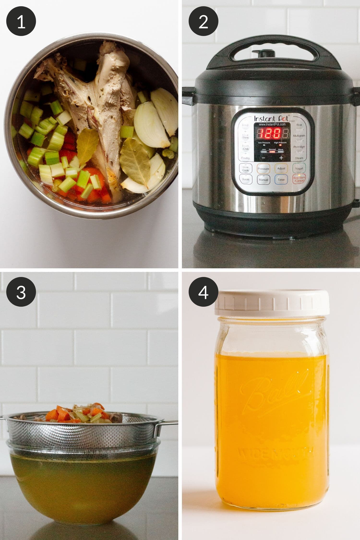 Collage of photos showing the steps to make turkey bone broth in the Instant Pot.