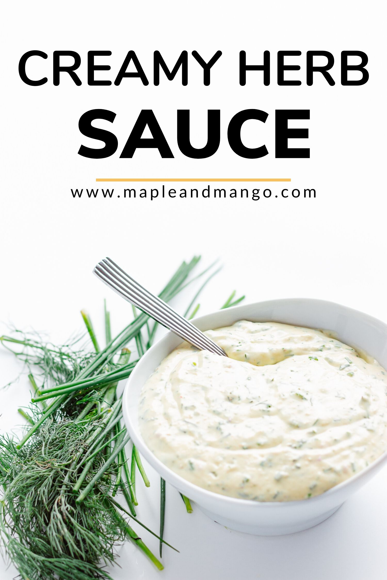 Pinterest image for Creamy Herb Sauce