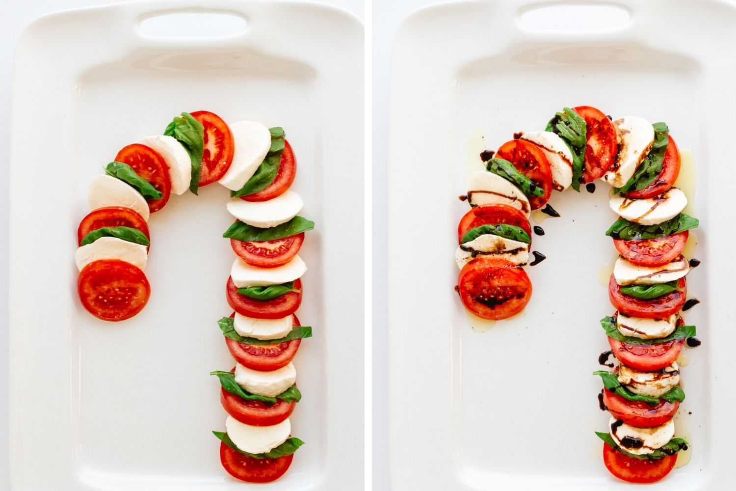 Two side by side pictures of caprese salad arranged in the shape of a candy cane on white platters.  Left picture has no dressing and right picture is dressed.