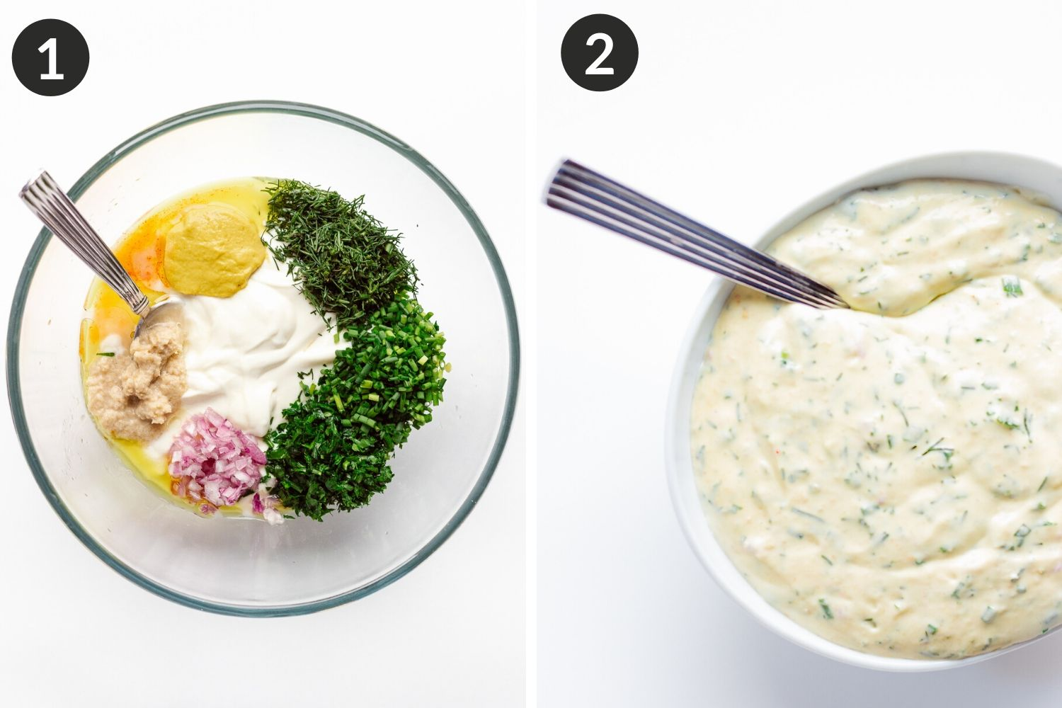 Process collage showing how to make creamy herb sauce/dip.